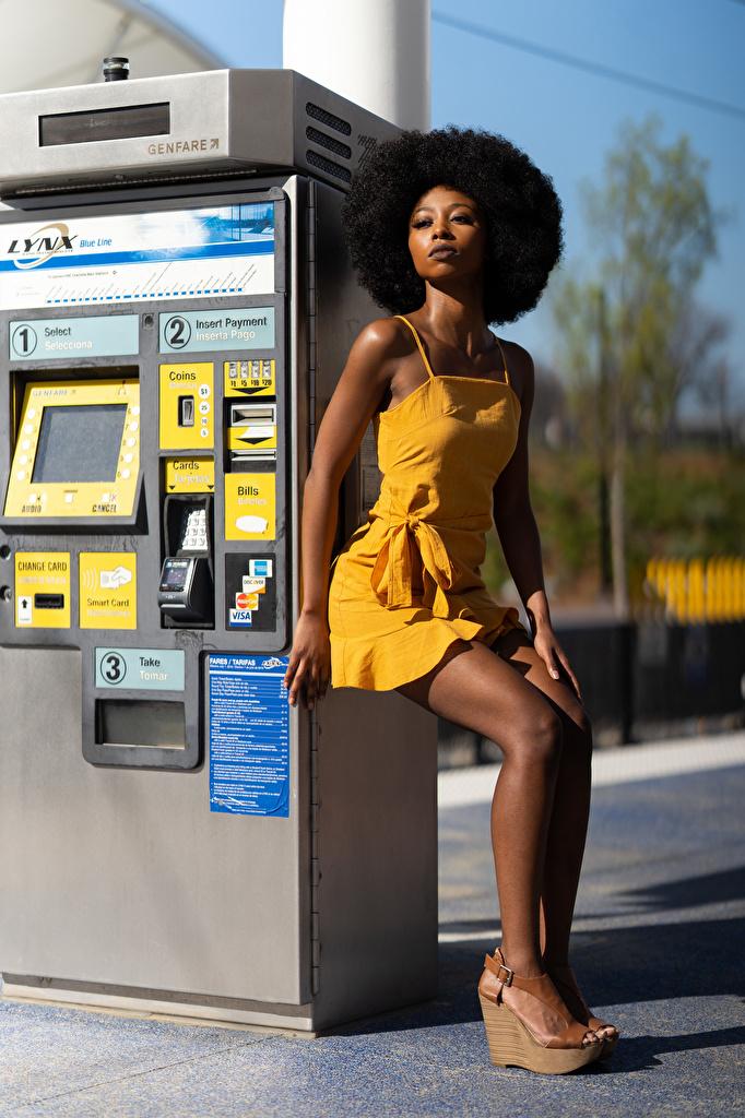 Фотографии Janae Fulton позирует негры Девушки Ноги Взгляд Платье  для мобильного телефона Поза Негр девушка молодая женщина молодые женщины ног смотрит смотрят платья