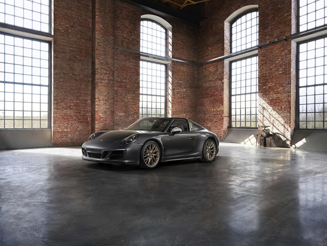 Картинки Porsche 4x4 Biturbo 911 Targa 4 GTS Exclusive Manufaktur Edition Родстер Серый Автомобили Порше Авто Машины