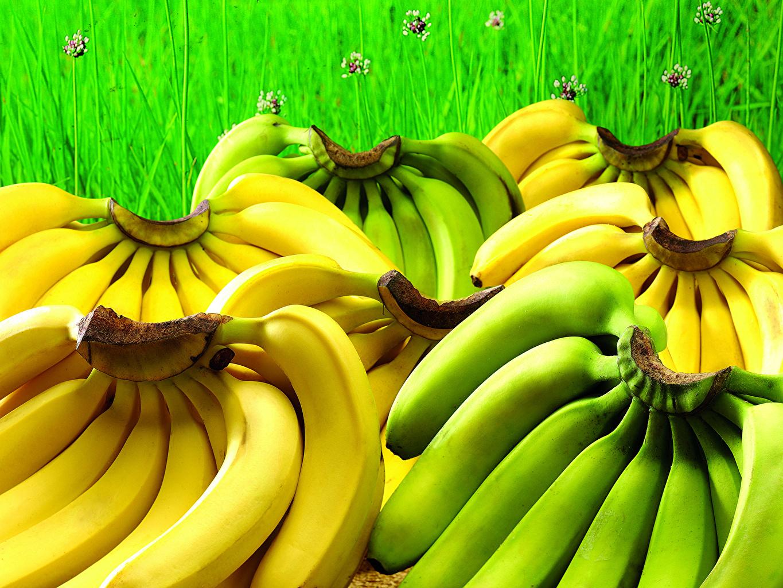 Картинки Бананы Пища Фрукты Много Еда Продукты питания