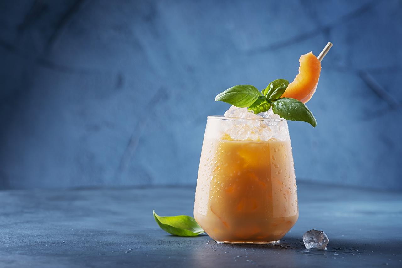 Картинка Лед Дыни мятой Стакан Продукты питания напиток льда мяты Мята стакане стакана Еда Пища Напитки