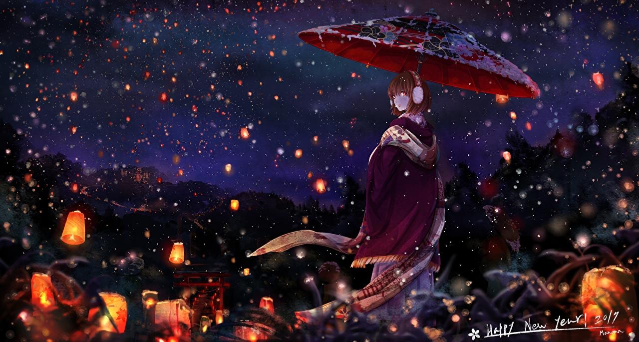 Фотография Фонарь Кимоно Аниме Девушки Ночь Зонт Ночные