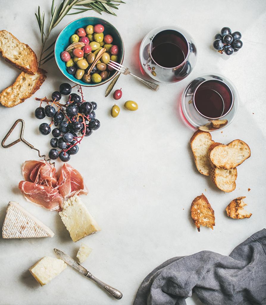 Фото Кофе Оливки Сыры Хлеб Ветчина Виноград Еда Чашка Пища Продукты питания