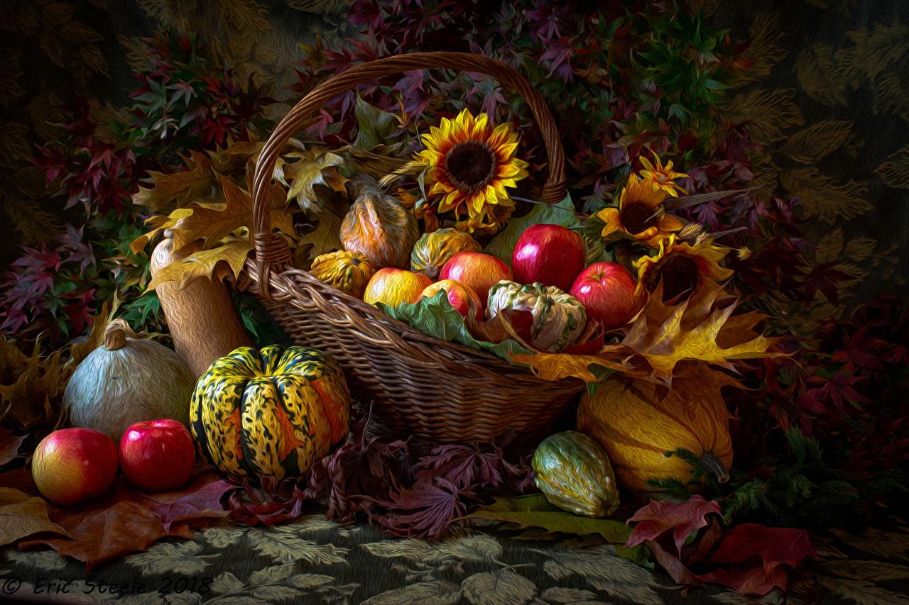 Картинка лист Осень Тыква Яблоки Корзинка Подсолнухи Еда Листья Листва осенние корзины Корзина Подсолнечник Пища Продукты питания