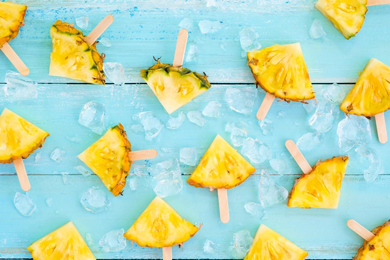 Картинки льда Ананасы кусочки Продукты питания Лед часть Кусок кусочек Еда Пища