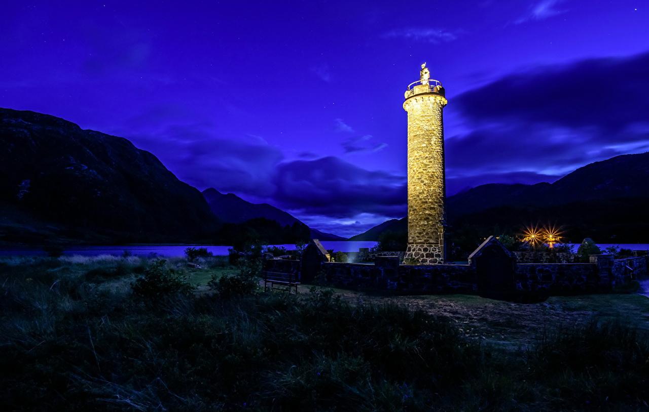 Фото Шотландия Glenfinnan маяк Горы Природа в ночи Побережье гора Маяки Ночь берег ночью Ночные