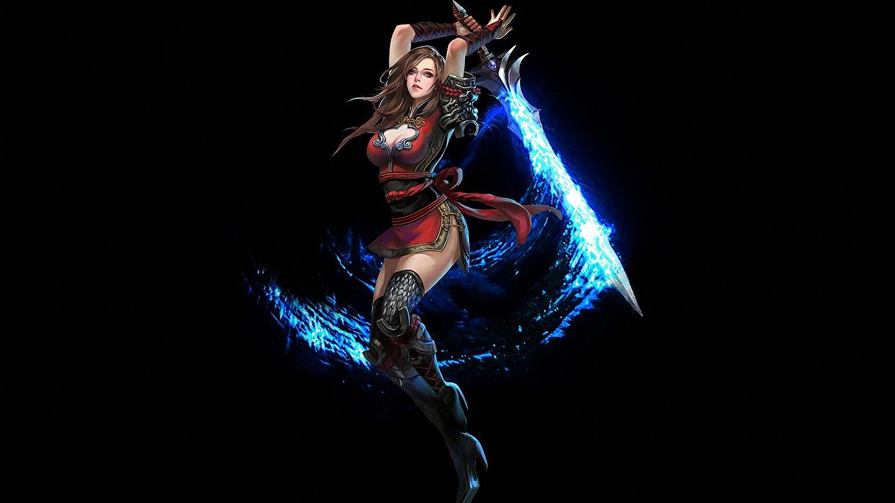 Фотографии меч Магия воины Dakensang Фэнтези девушка компьютерная игра меча Мечи с мечом волшебство воин Воители Девушки Фантастика молодая женщина молодые женщины Игры