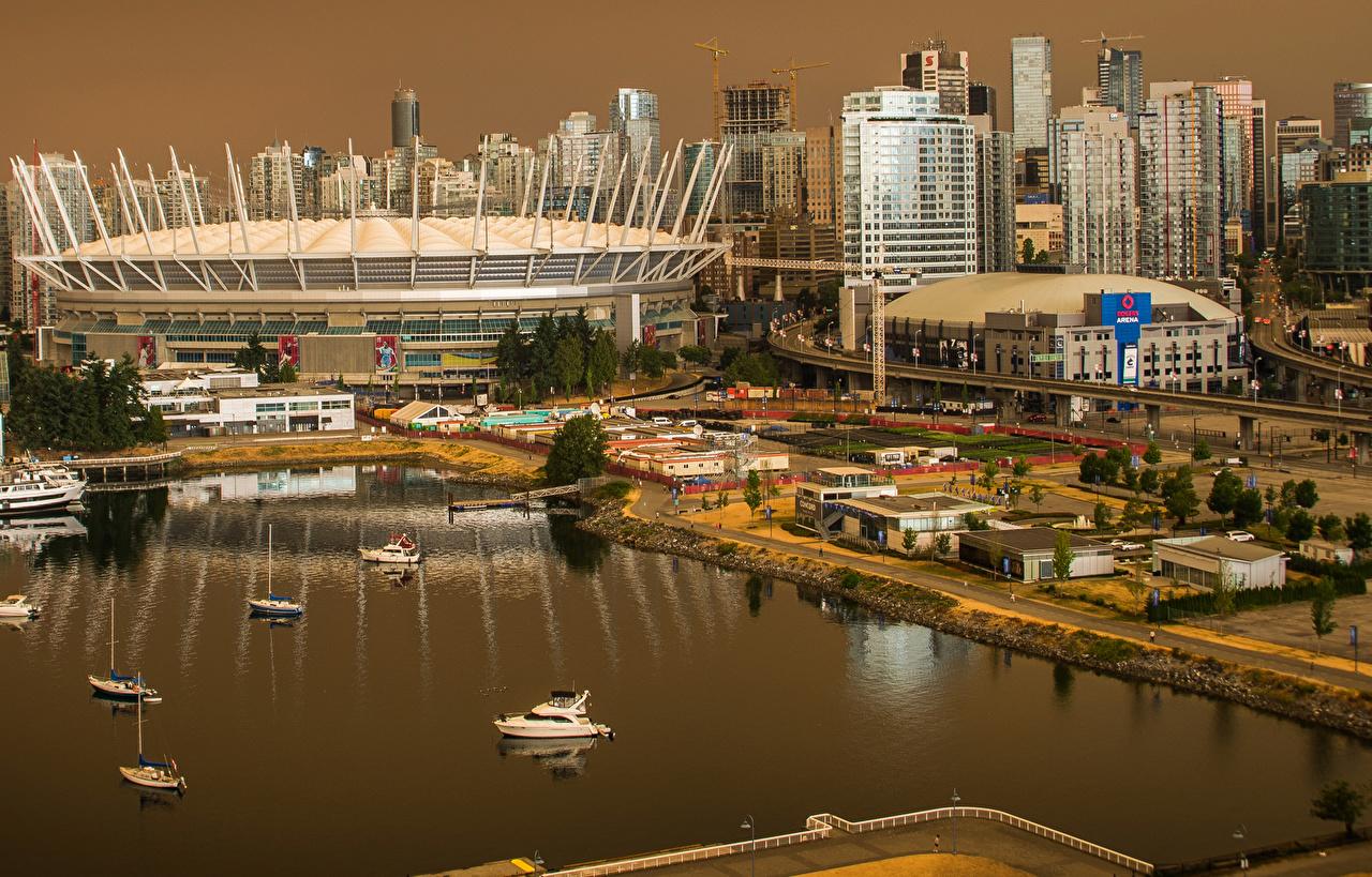 Фото Ванкувер Канада Залив Причалы Дома Города Пирсы Пристань Здания