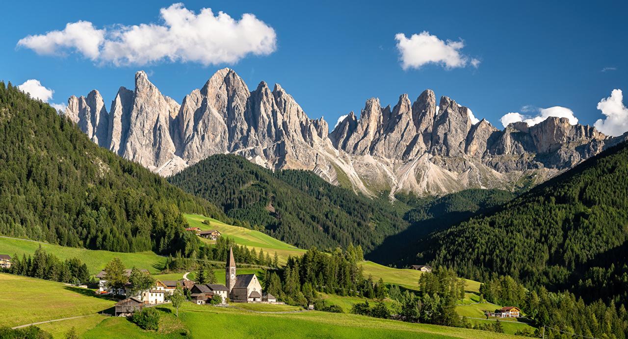 Картинка Альпы Италия South Tyrol, Dolomites Долина гора Природа альп Горы