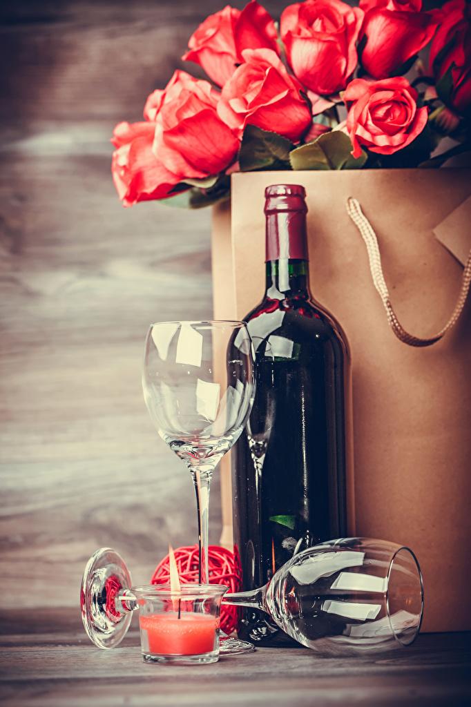 Фотографии Вино Розы Цветы Свечи Бокалы Бутылка Продукты питания Еда Пища
