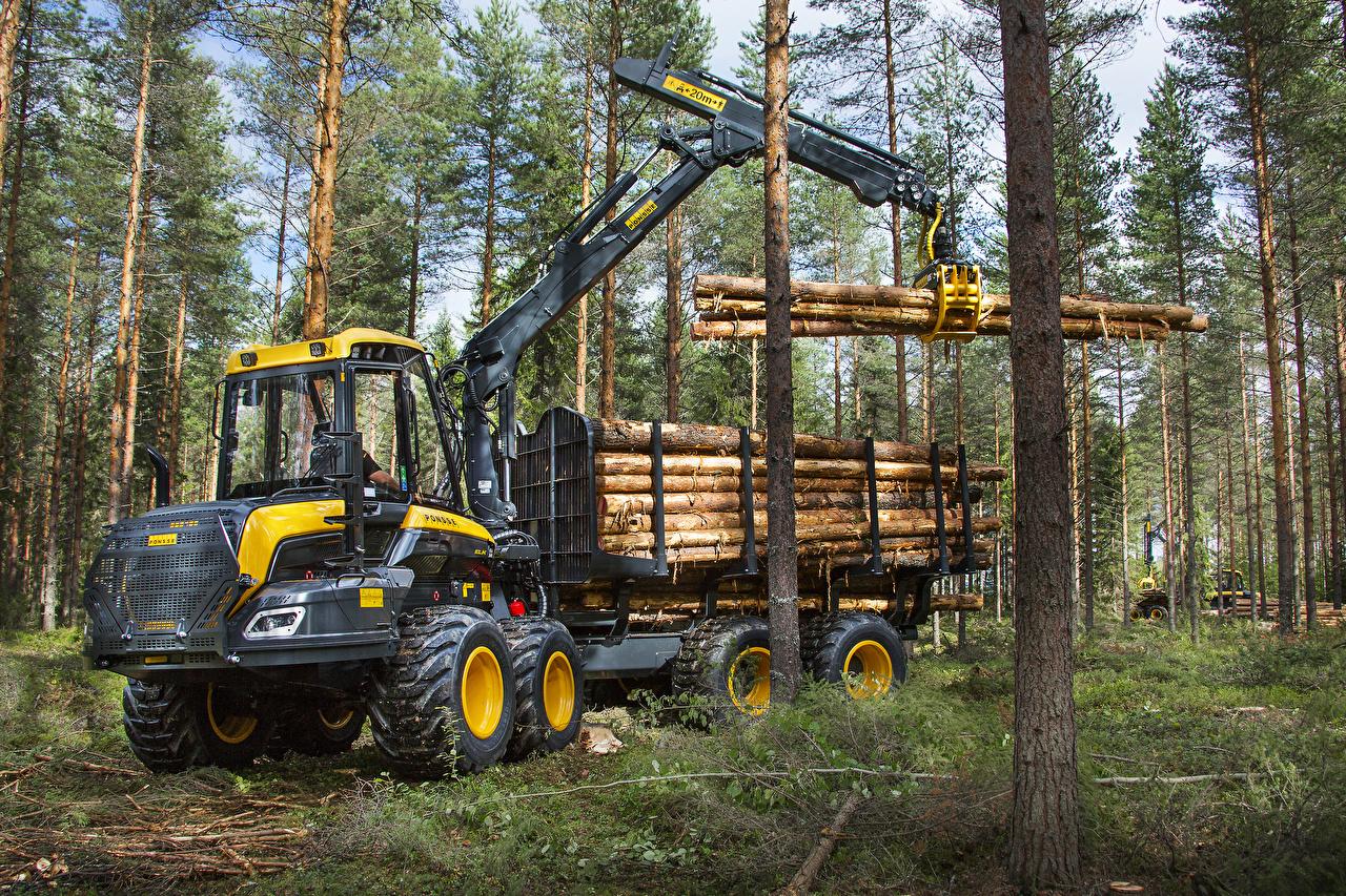 Обои для рабочего стола Ствол дерева 2014-17 Ponsse Elk Леса Форвардер лес