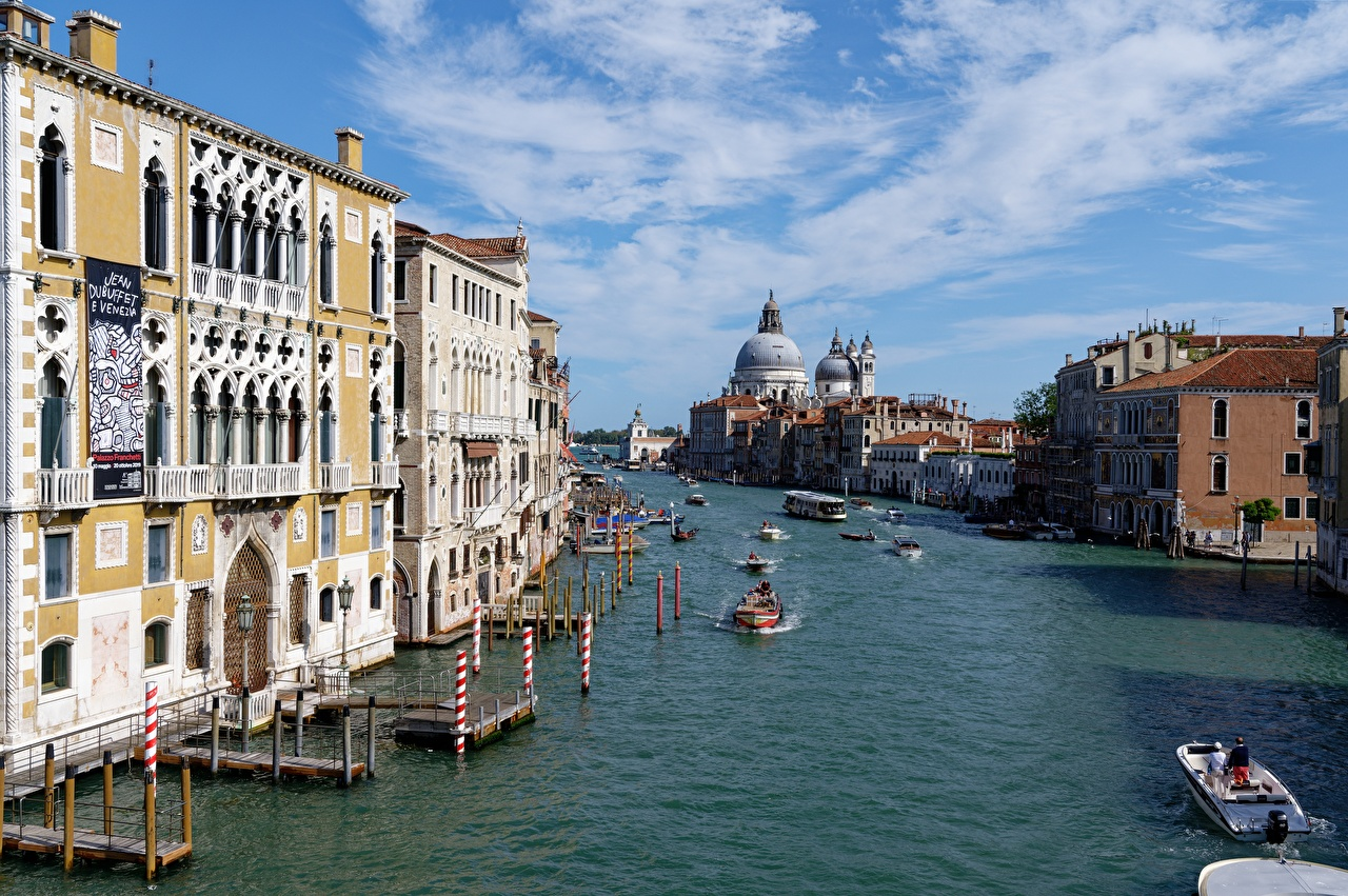 Картинка Венеция Италия St. Mark's Cathedral Водный канал Речные суда Катера Города город