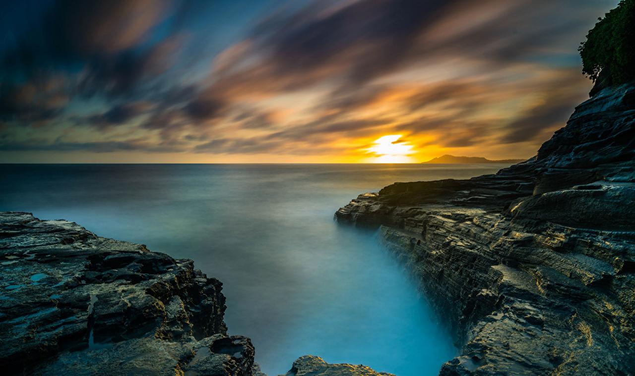 Фотографии Гавайи штаты Море Океан Природа Пейзаж Рассветы и закаты берег США Побережье