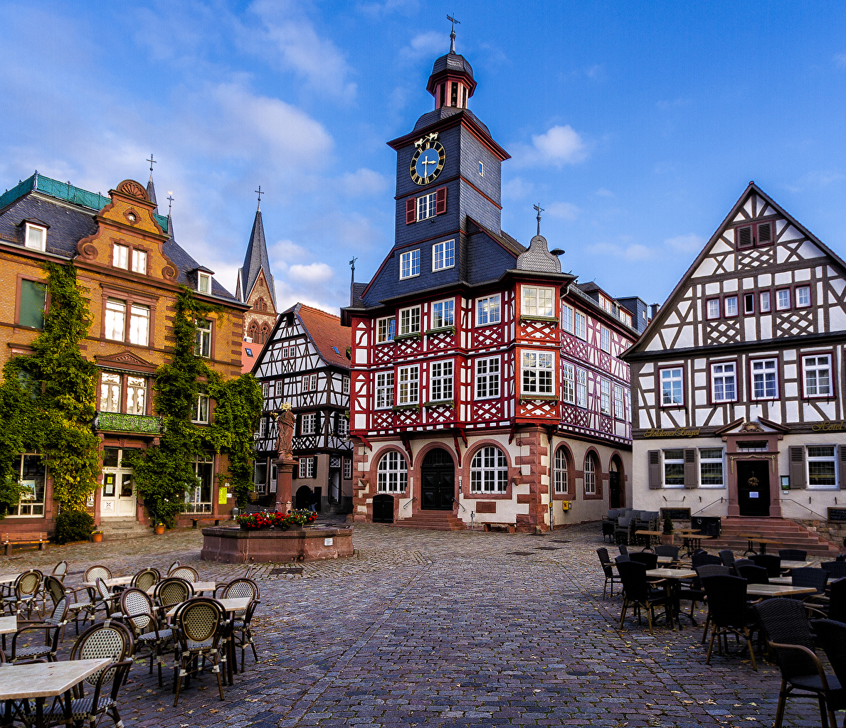 Фото Германия Heppenheim Кафе Дома Города Здания