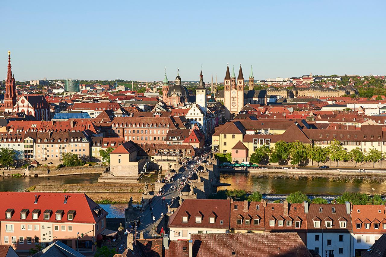 Обои для рабочего стола Бавария Германия башни Würzburg Мосты речка Дома Города Башня мост Реки река город Здания