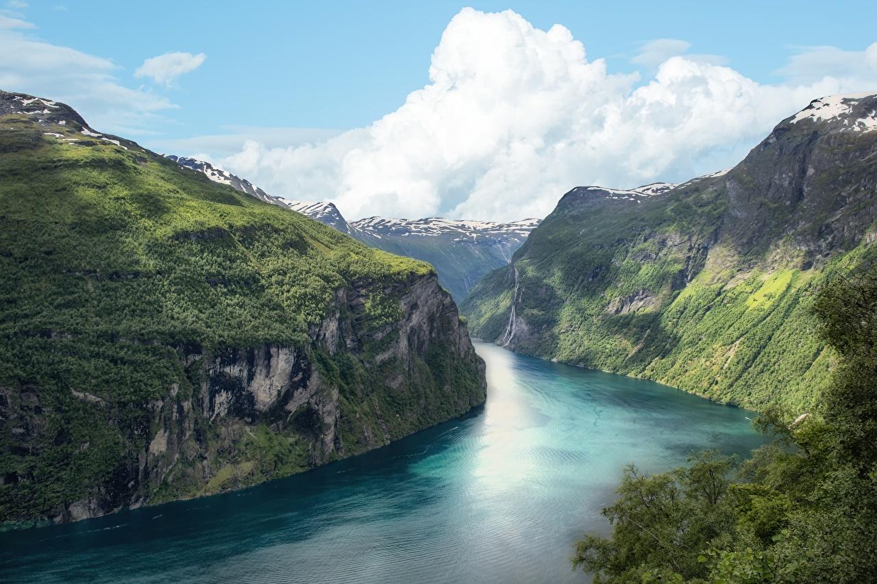 Фотография Норвегия Fjord скале Природа Утес скалы Скала