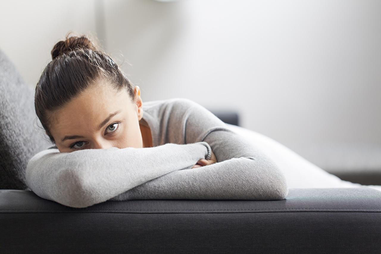 Обои для рабочего стола Лежит прически Девушки Диван Взгляд лежа лежат лежачие Причёска девушка молодая женщина молодые женщины диване смотрит смотрят