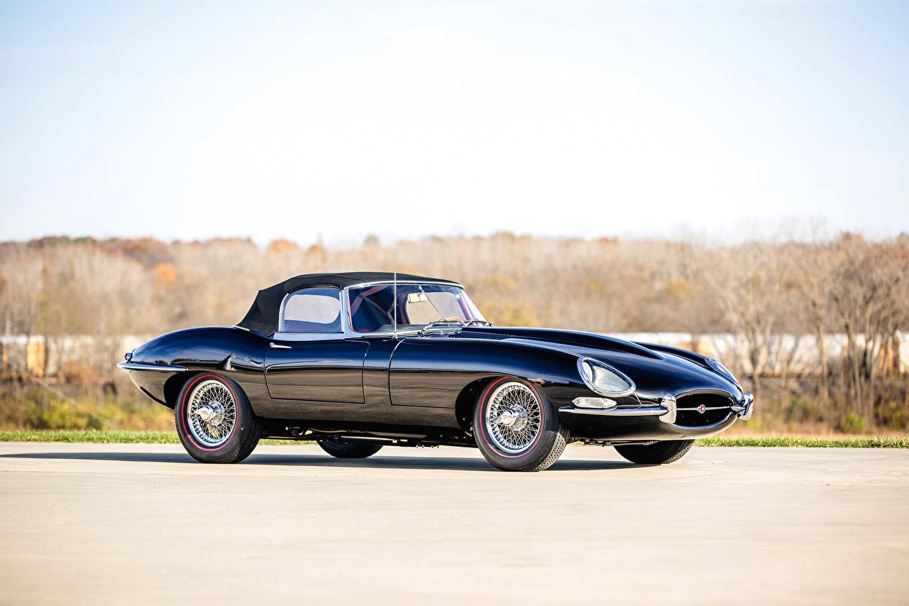 Фото Jaguar 1962-64 E-Type 3.8-Litre Open Two Seater синих Ретро машины Металлик Ягуар Синий синие синяя Винтаж старинные авто машина автомобиль Автомобили