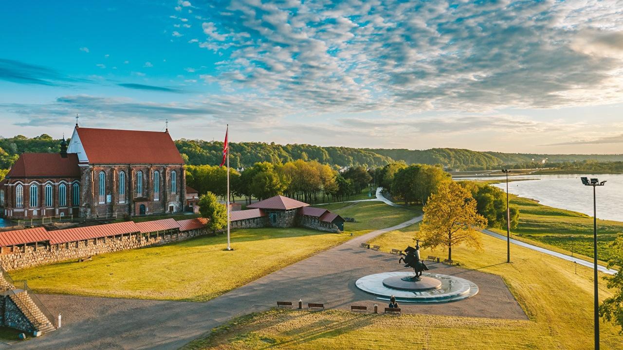 Обои для рабочего стола Литва Памятники Kaunas, Santaka ограда город Забор забора забором Города