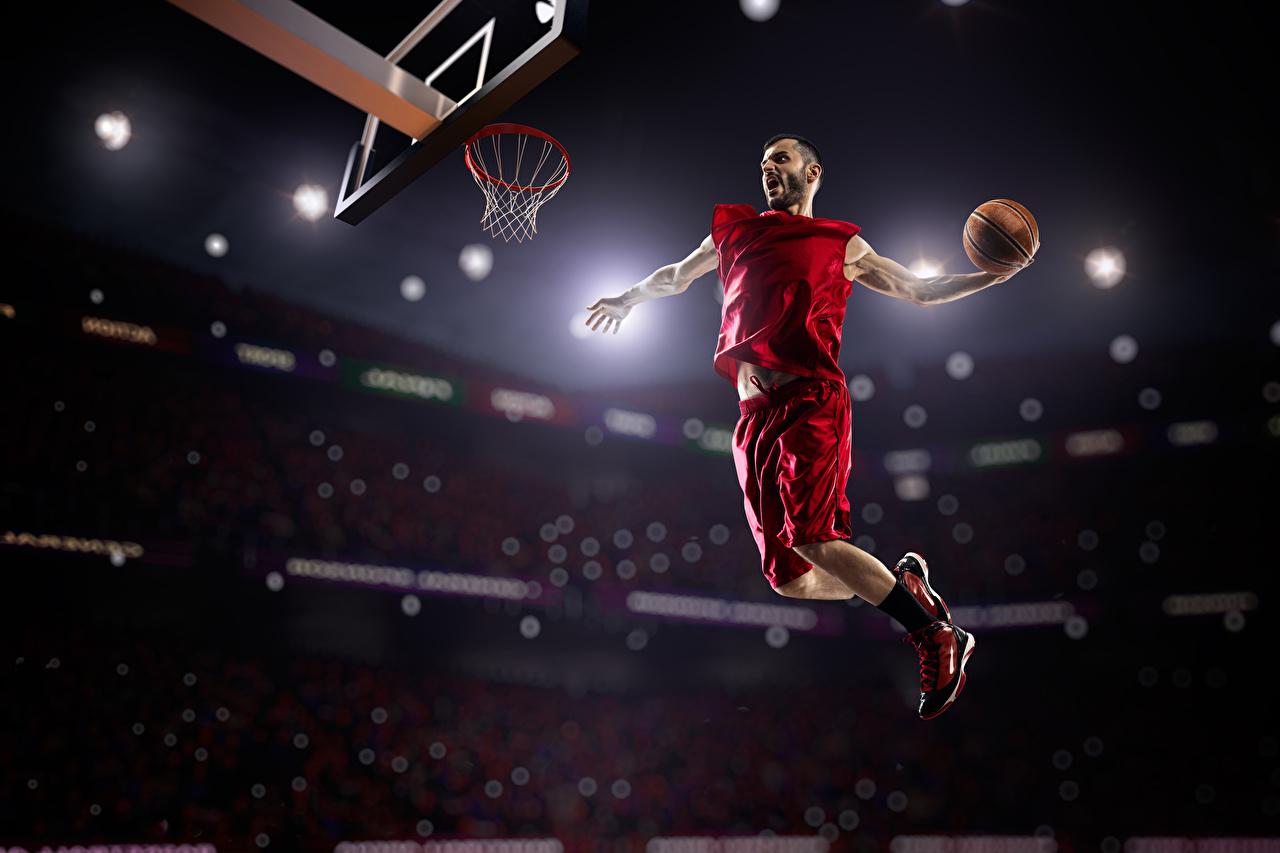 Фотография Мужчины Баскетбол спортивный Прыжок Мячик униформе Спорт спортивная спортивные прыгает прыгать в прыжке Мяч Униформа