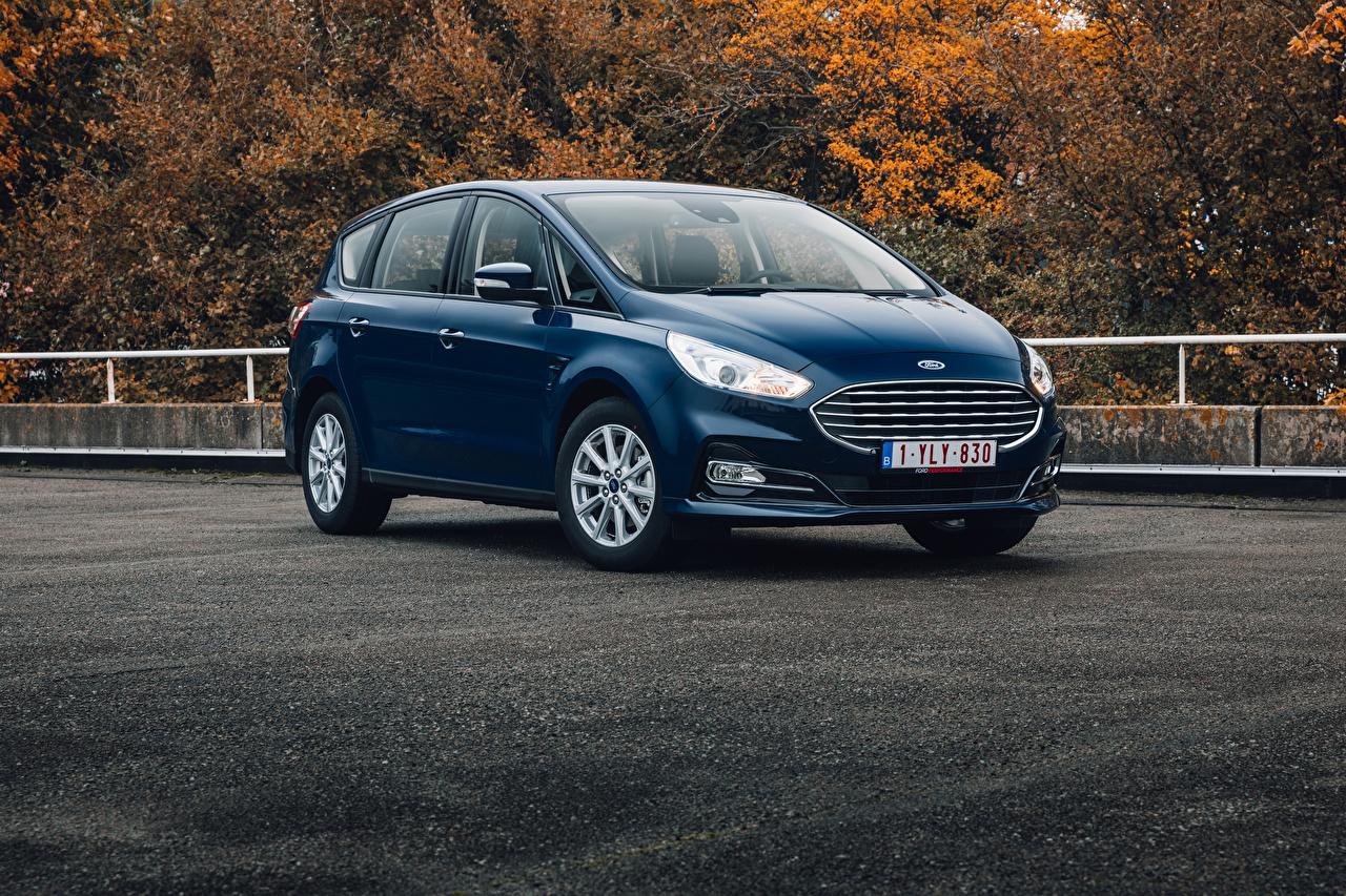 Обои для рабочего стола Ford Универсал S-MAX, 2019-- синие Металлик Автомобили Форд синяя Синий синих авто машины машина автомобиль