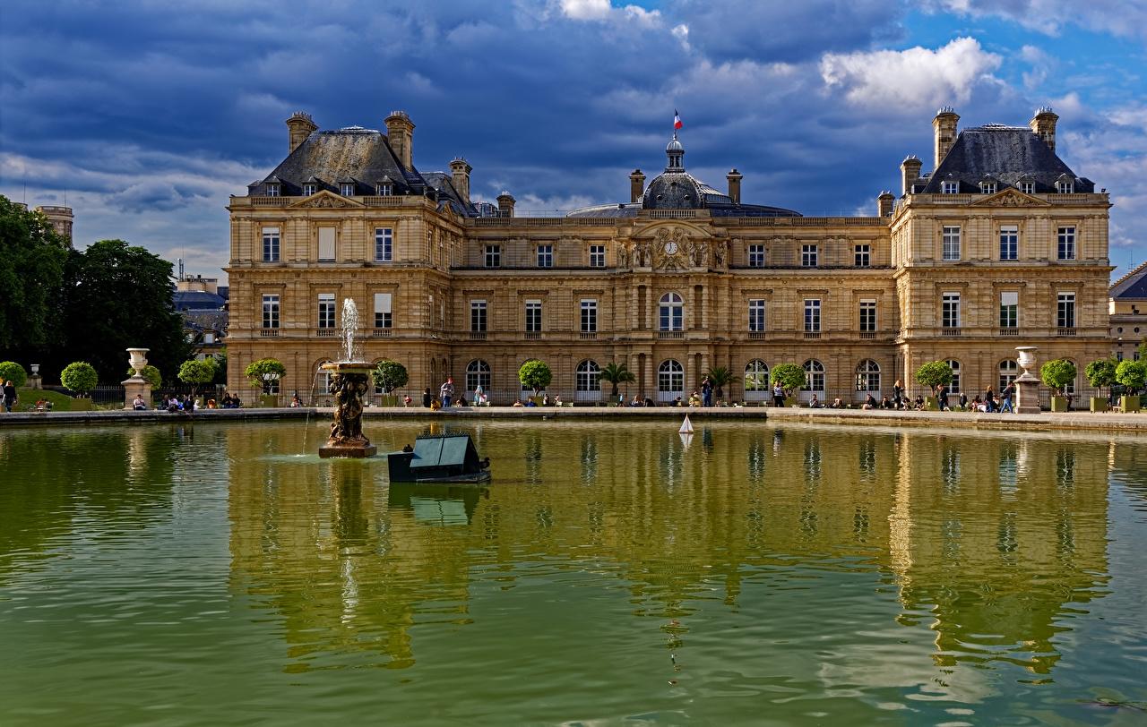 Фотография париже дворца Франция Фонтаны Luxembourg Gardens Пруд город Париж Дворец Города