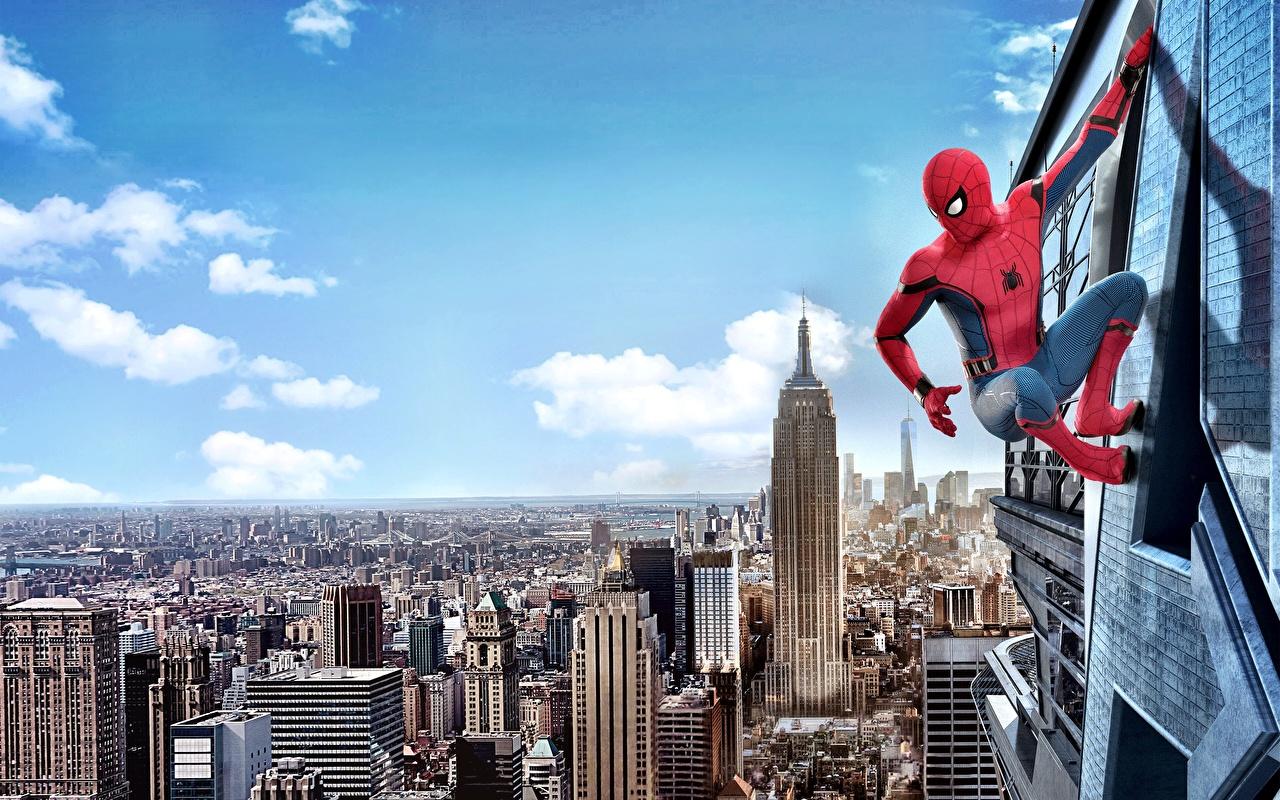 Картинка Человек-паук: Возвращение домой Нью-Йорк супергерои Человек паук герой Фильмы Герои комиксов кино
