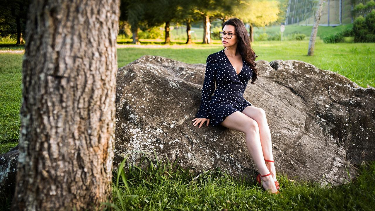 Обои Шатенка Nayara Красивые Девушки Ноги Очки Сидит Камень Платье Камни сидящие
