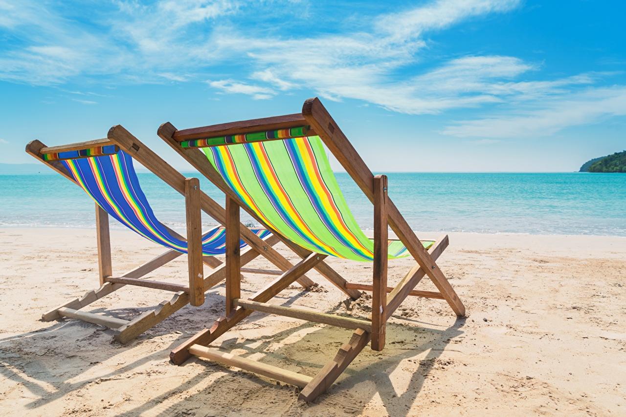 Фотография пляжа Лето Море Отдых Природа Песок Лежаки Пляж пляже пляжи релакс отдыхает песка песке Шезлонг