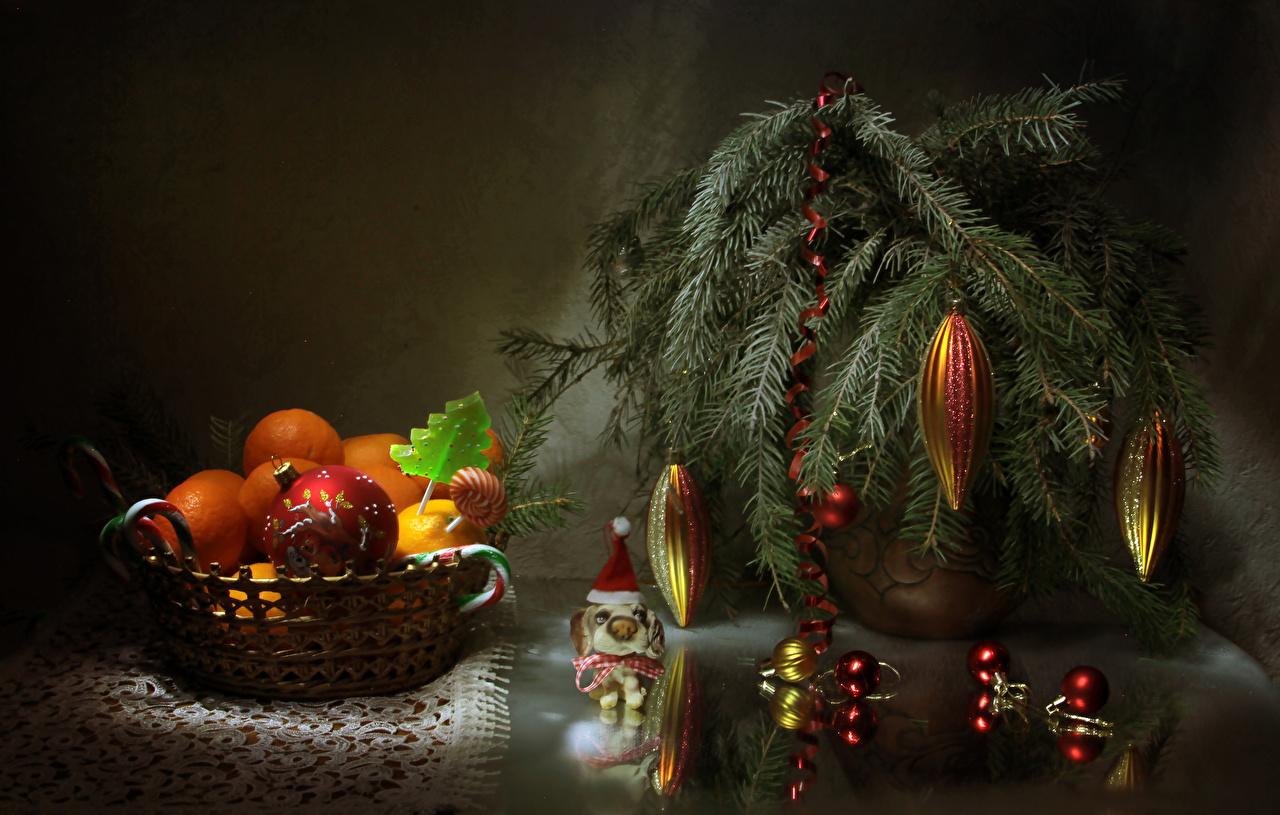 Картинка Новый год Леденцы Мандарины Еда Шар на ветке Сладости Рождество Пища ветвь Ветки ветка Шарики Продукты питания