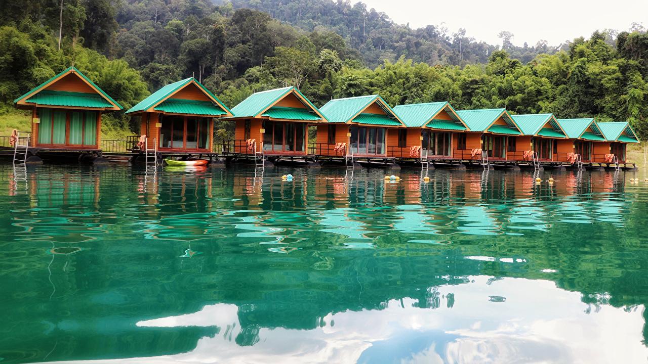 Картинка Таиланд Cheow Lan Lake Khao Sok National Park Thailand Природа парк Озеро Здания Парки Дома