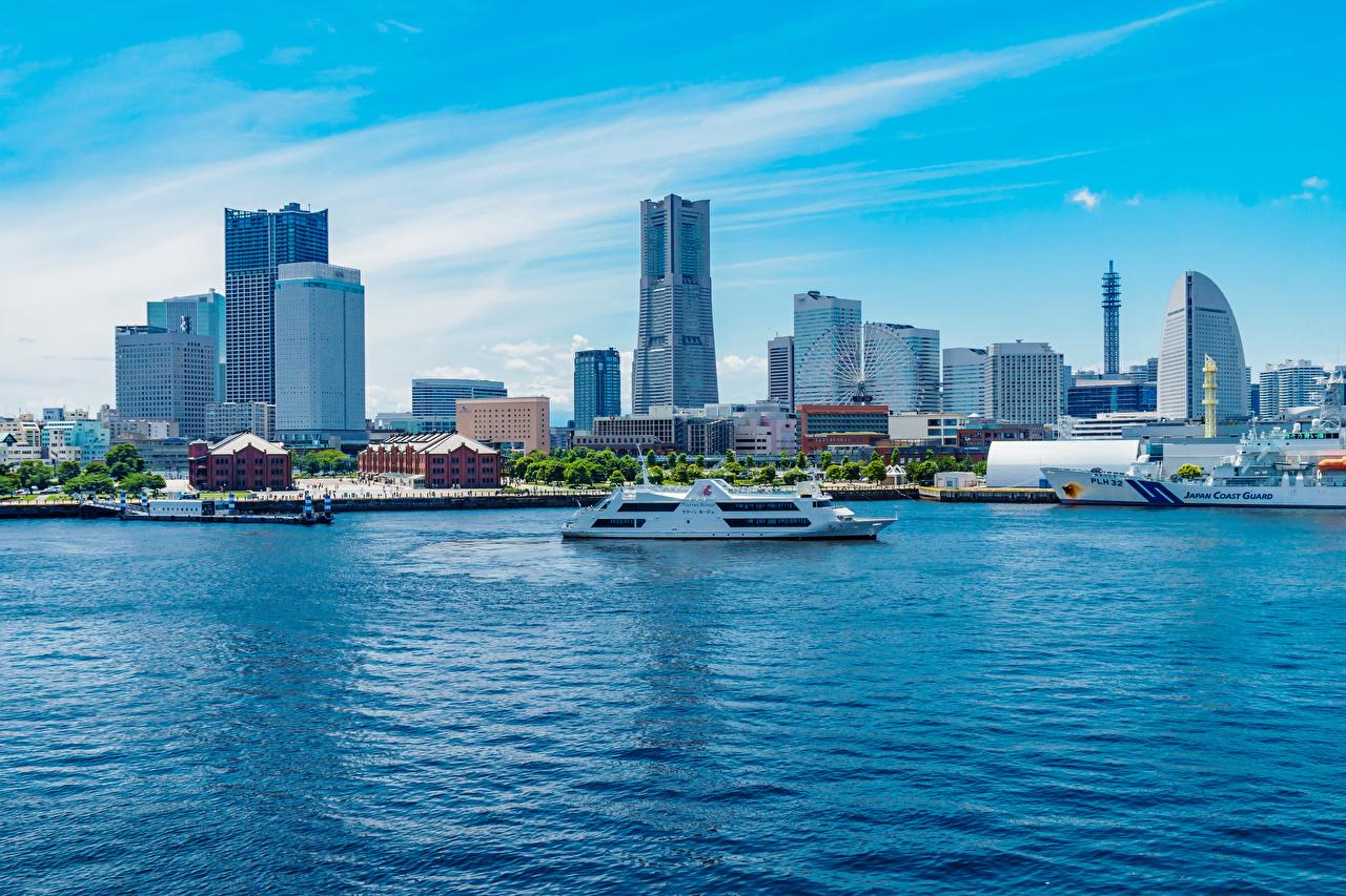 Картинки Япония Yokohama, Minatomirai Station Корабли Залив Здания Города корабль залива заливы Дома город