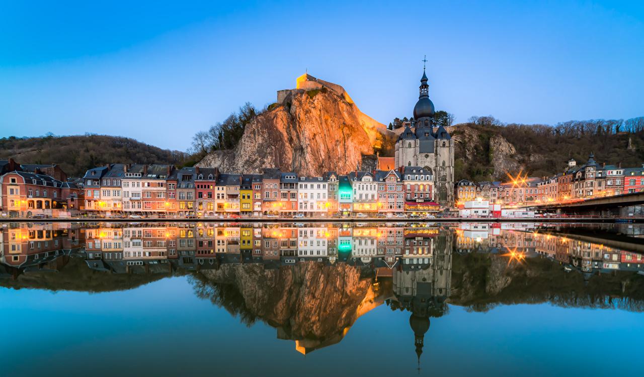 Фото Бельгия Dinant скалы Вечер речка Дома Города Утес Скала скале Реки Здания