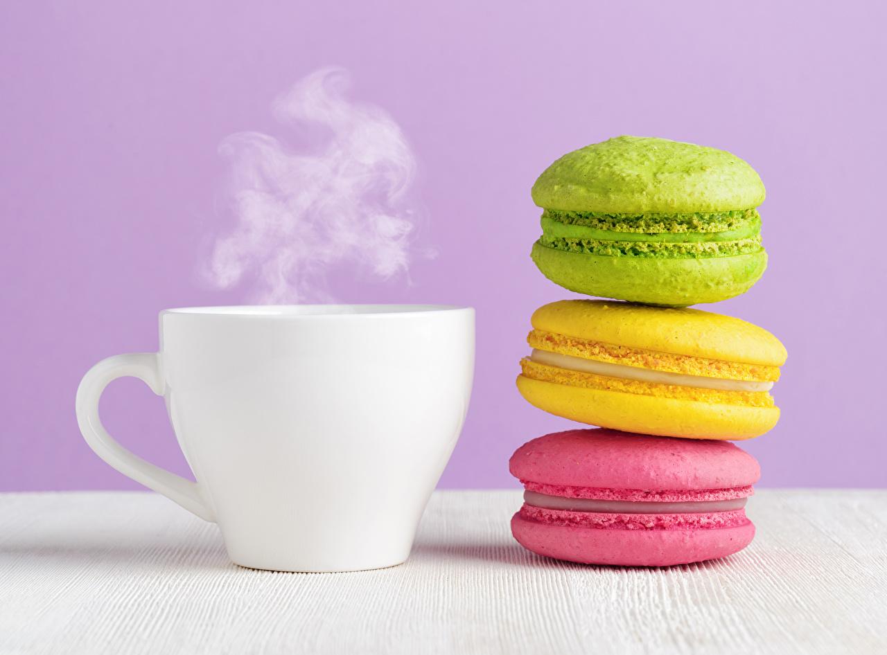 Картинка Макарон Разноцветные Пища паром чашке Напитки Пар Еда пары Чашка Продукты питания напиток