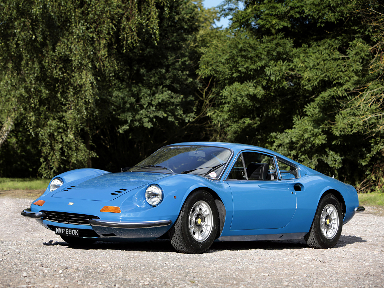Обои для рабочего стола автомобиль 1970-71 Dino 246 GT (Tipo 607M) Pininfarina Винтаж Голубой Металлик авто машина машины Автомобили Ретро старинные голубых голубые голубая