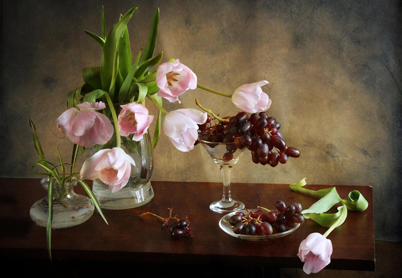 Фотографии букет тюльпан цветок Виноград вазе Стол Натюрморт Букеты Тюльпаны Цветы вазы Ваза столы стола