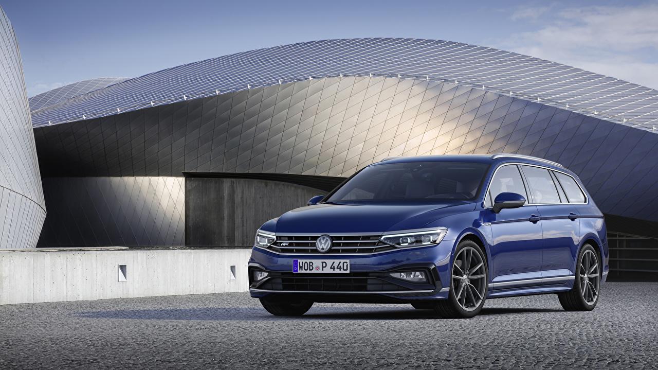 Картинки Volkswagen 2019 Passat R-Line Variant Worldwide Синий Авто Металлик Фольксваген Машины Автомобили