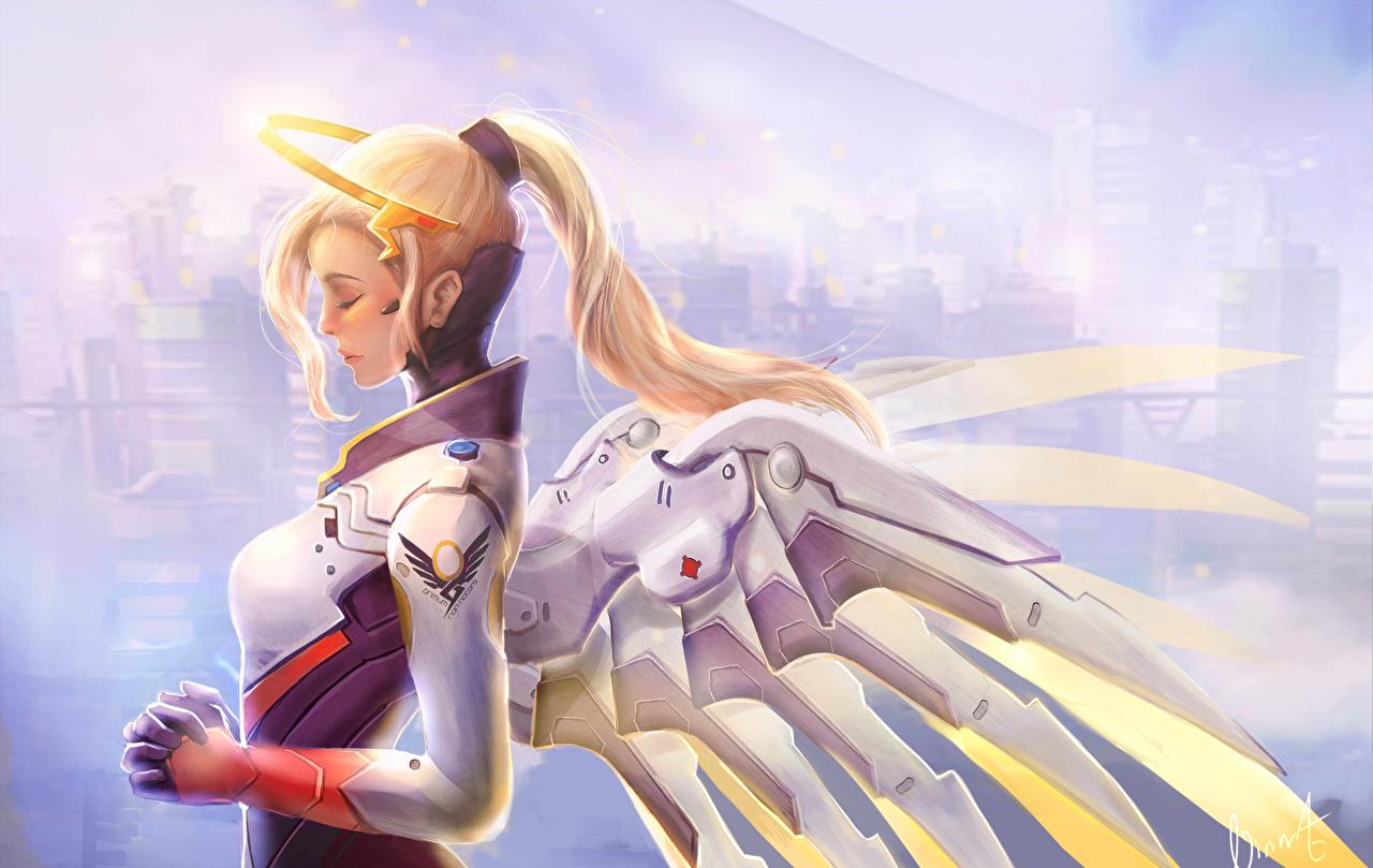 Обои Overwatch Блондинка Крылья Mercy Фантастика Игры Ангелы Овервотч Фэнтези