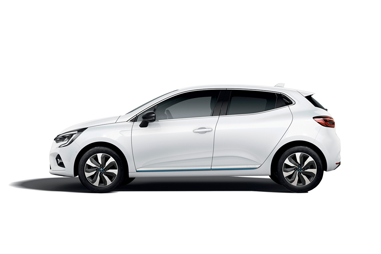 Фотографии Renault Clio E-TECH, 2020 белых Сбоку Металлик автомобиль Рено белая белые Белый авто машины машина Автомобили