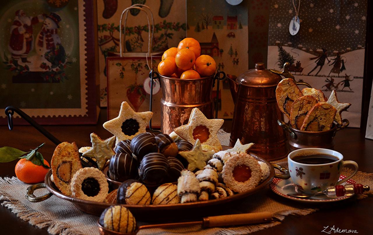 Картинка Шоколад Кофе Мандарины Еда Чашка Печенье Пища чашке Продукты питания