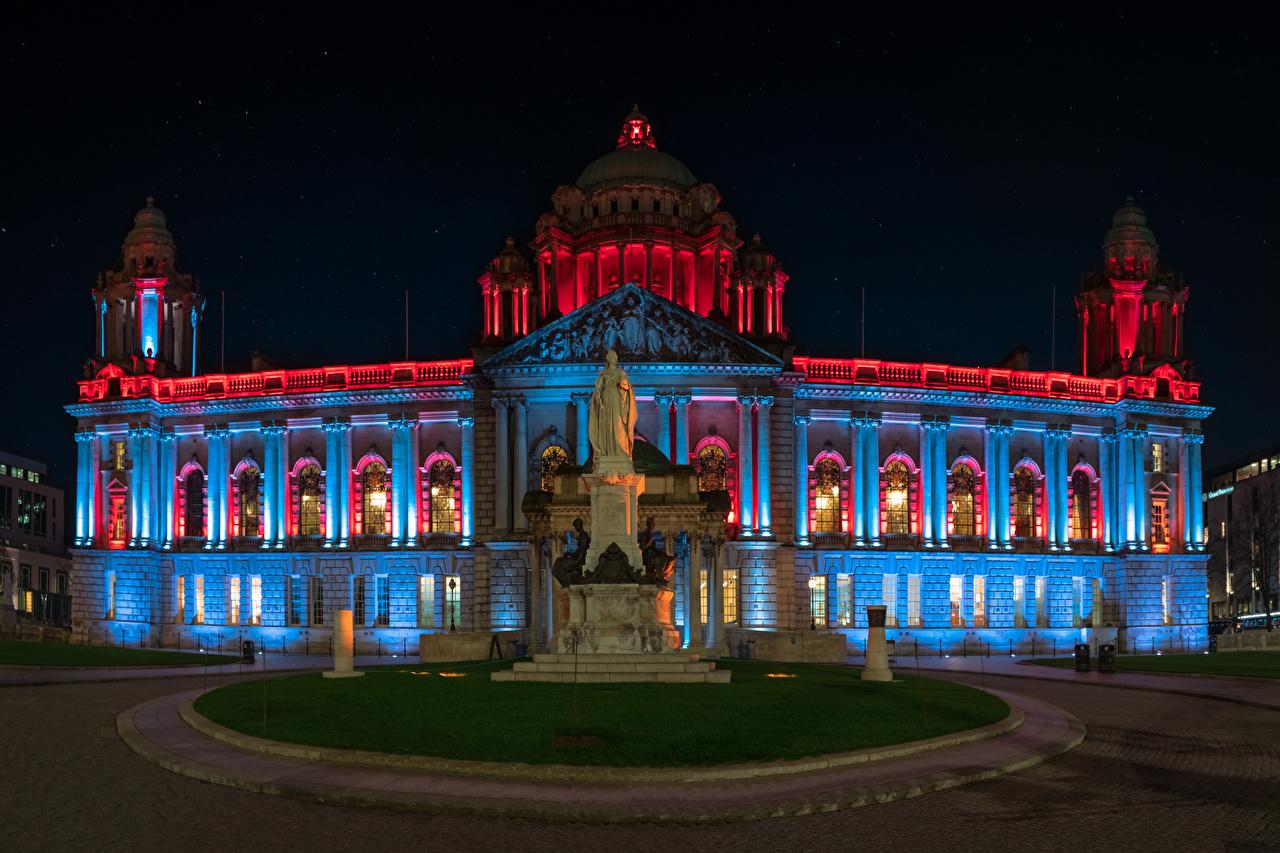 Фотография Ирландия Памятники Belfast City Hall Ночь Города Здания ночью в ночи Ночные Дома город