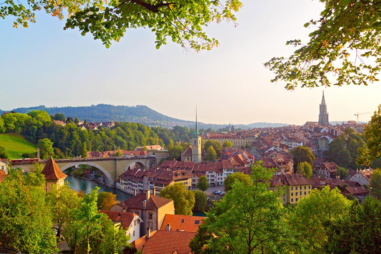 Фото Берн Швейцария Крыша Мосты Города Здания Дома