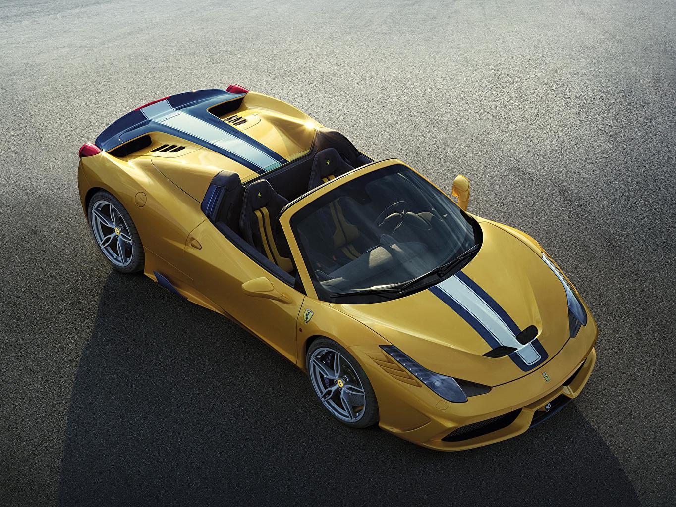 Картинка Феррари Стайлинг 2014 458 Italia Speciale A кабриолета желтых авто Сверху Ferrari Тюнинг Кабриолет Желтый желтые желтая машина машины автомобиль Автомобили