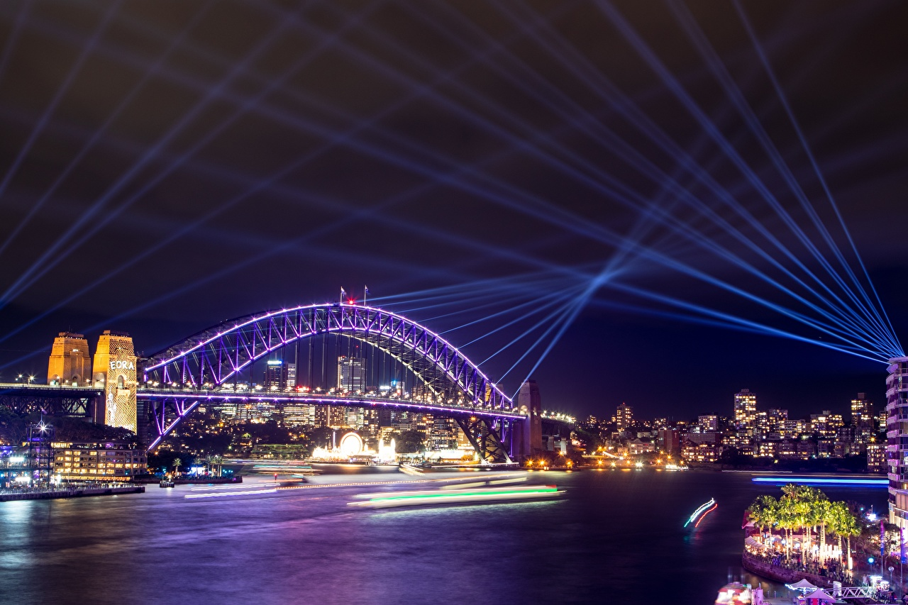 Картинки Лучи света Сидней Австралия Мосты Ночь Города Ночные