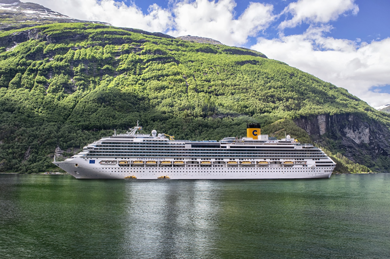 Фотографии Норвегия Круизный лайнер Costa Favolosa, Fjord Море Горы Природа Корабли