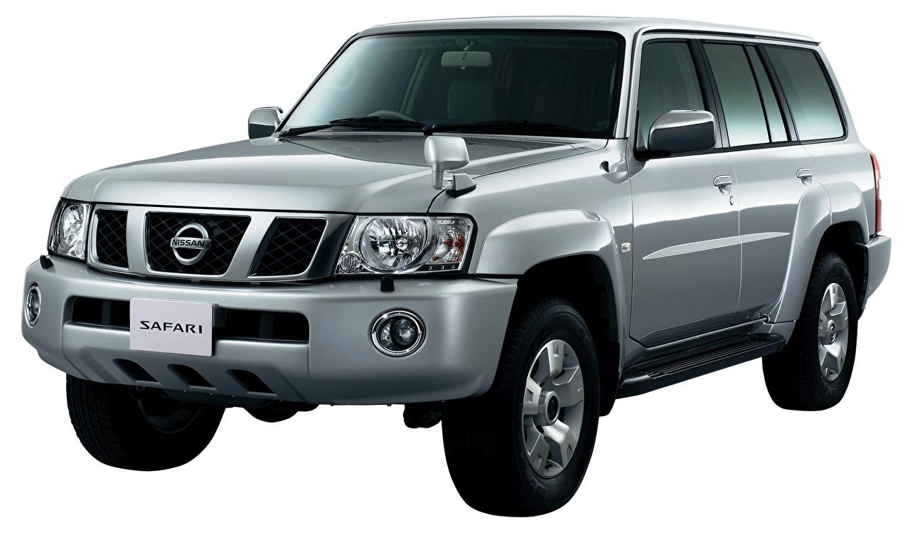 Фотографии Ниссан Safari, Y61 Серый машины Металлик Белый фон Nissan серые серая авто машина автомобиль Автомобили белом фоне белым фоном