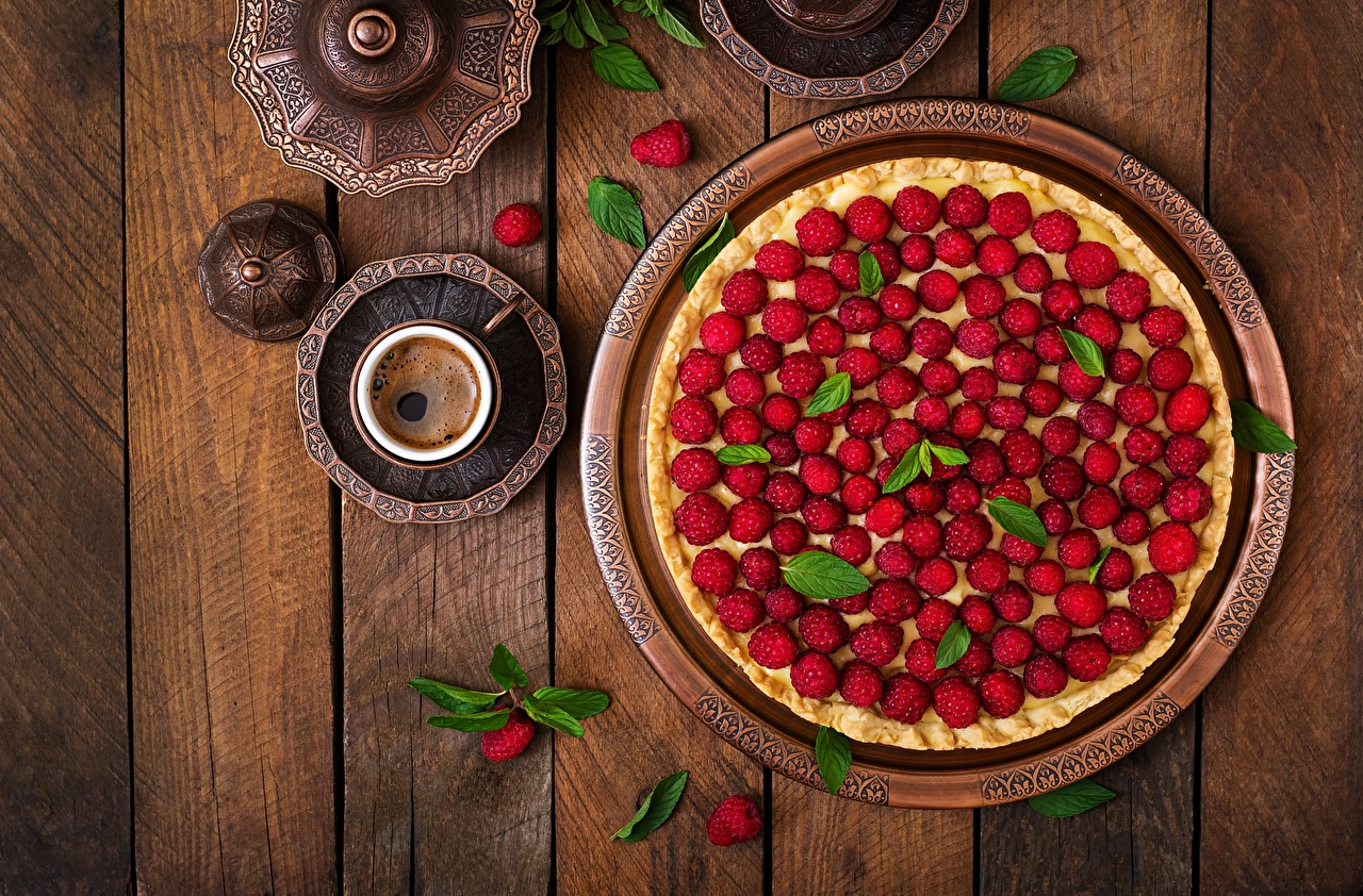 Фото Пирог Малина Еда Доски Пища Продукты питания