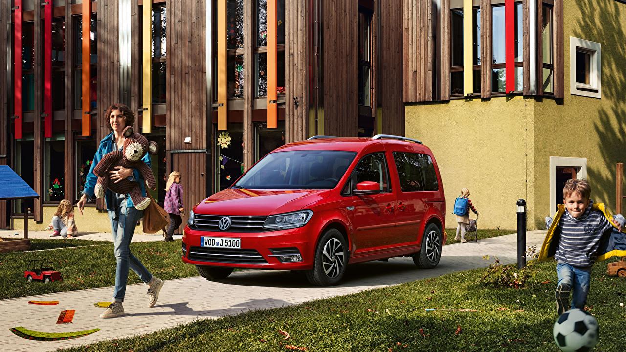 Фотографии Volkswagen 2018-19 Caddy Join Красный Авто Металлик Фольксваген Машины Автомобили