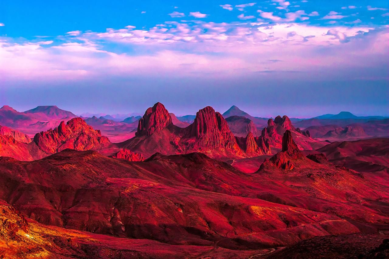 Картинки Африка Sahara Algeria Скала Природа Пустыни Небо Утес скалы скале