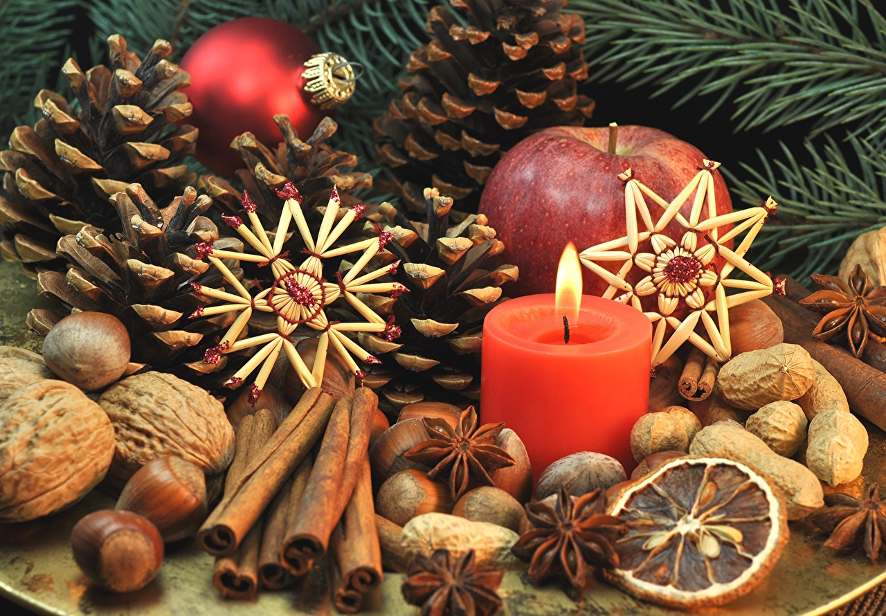 Фото Рождество Бадьян звезда аниса Корица Шишки Свечи Орехи Праздники Новый год шишка