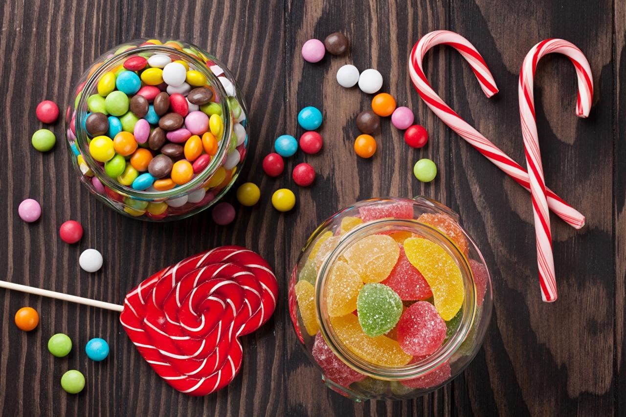 Фотография Candy cane Леденцы Мармелад Банка Еда Пища Продукты питания